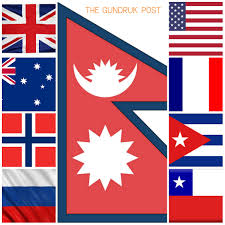 interesting nepal share red white blue flag colors with usa uk