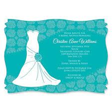 custom bridal shower invitations wedding dress aqua personalized bridal shower invitations
