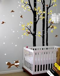 Wall Decals For Nursery Tree Wall Decal Fox Sticker Nursery Birch Trees Mural Decor