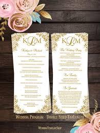 tea length wedding program slim wedding programs tea length order of service wedding