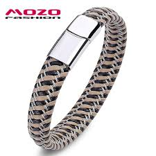 metal rope bracelet images Mozo fashion men bracelet steel wire leather braided rope jpg