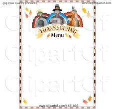 clipart of pilgrim turkeys with thanksgiving menu text and border