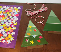 easy paint chip christmas tree ornament in the garage