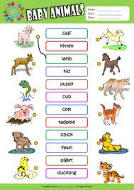 baby animals esl printable worksheets for kids 1