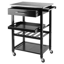 stainless steel top kitchen cart anthony stainless steel top kitchen cart wood black winsome target