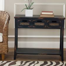 Safavieh Console Table Safavieh Corby Distressed 3 Drawer Black Console Table Free
