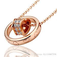 Double Plated Name Necklace Wholesale Women Crystal Circle Heart Double Pendant Bicyclo