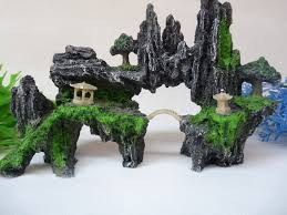 aquarium decoration hill bridge and tree for fish tank resin