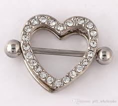 double nipple rings images Nipple shield rings barbells body jewelry love heart double jpg