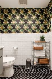 Black And White Wallpaper For Bathrooms - custom cabinetry and pineapple prints in this glam kitchen and