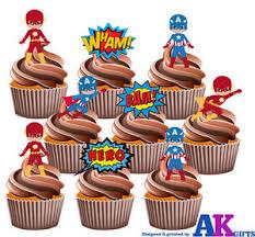 captain america cake topper party pack 36 x captain america flash gordon mix edible cup