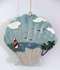 seashell ornaments sea shell christmas ornament with beach scene
