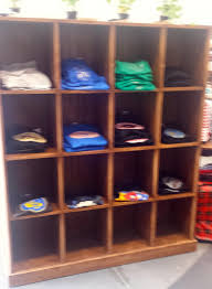Unique Shelving Ideas by Rustic Wood T Shirt Cubby Display Unit Wooden Display Example