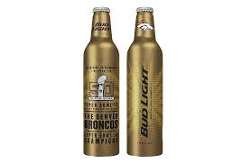 bud light gold can rules bud light broncos super bowl 50 aluminum bottles unveiled