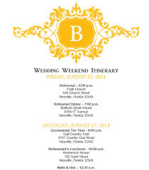 wedding agenda templates mustard yellow wedding itinerary template template at