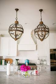 french vintage island pendants transitional kitchen