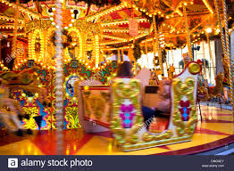 a carousel or merry go amusement ride at trafford centre
