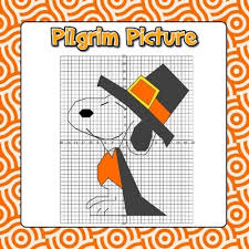 pilgrim thanksgiving math coordinate grid picture 2 versions