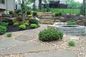 Cheap Landscaping Ideas For Backyard by Landscape Awesome Gray And Brown Square Stone Landscaping Ideas