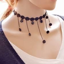 black neck from necklace images Shunyun 12pcs hot sale women statement beads pendant short lace jpg