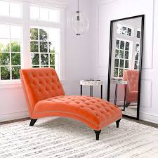 Chaise Lounges For Living Room Ursula Fabric Chaise Lounge Orange