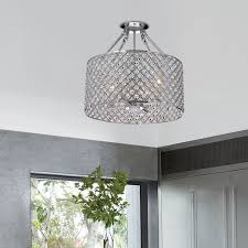 flush mount drum light 4 light round drum semi flush mount crystal chandelier chrome finish