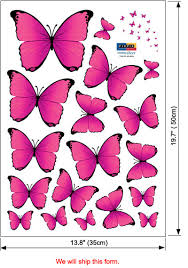 pink butterfly wall stickers decor for baby nursery rooms