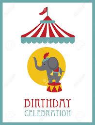 kid happy birthday card design circus animal vector illustration
