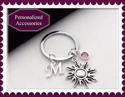 personalized birthstone keychains sun keychain summer keychain personalized keychain birthstone