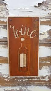 Wine Decor For Kitchen Metal Wine Sign Wine Bottle Rustic Wine Decor Rustic Home