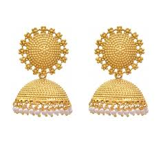 gold erring buy ameeyo golden metal jhumki earrings for women online at low