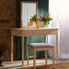 stockholm oak dressing table with mirror and optional stool