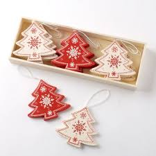 box of 12 nordic wooden christmas tree decorations 6cm amazon
