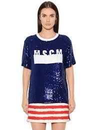 designer kleider gã nstig kaufen msgm model msgm t shirt aus tüll mit logo und pailletten blau