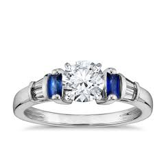 sapphire and engagement rings robert leser baguette cut sapphire and engagement ring in
