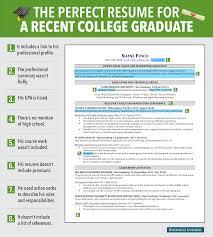 cv formats for graduates excellent resume for recent grad business insider