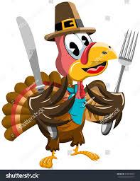 animated thanksgiving clipart thanksgiving cartoon turkey holding fork knife stock vector