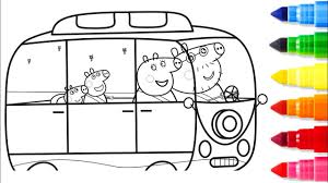 learn colors with drawing peppa pig in new car coloring pages how