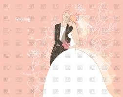 Groom To Bride Card Wedding Card With Happy Bride And Groom Vector Clipart Image
