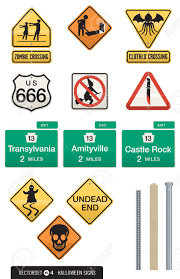 set of 12 halloween sign vectors humorous street signs with
