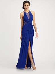 bcbgmaxazria gown maxine sleeveless lace inset in blue lyst