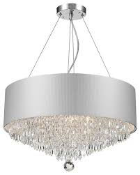 Chandelier Acrylic Modern 8 Light Chrome Finish Crystal Chandelier With Silver