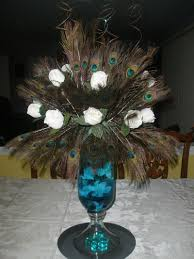 Feather Vase Centerpieces by Peacock Feather Centerpiece Raji Creations