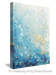 blue and white painting giclee print art abstract painting ocean blue white seascape coastal