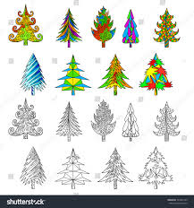 christmas tree doodle coloring book examples stock vector