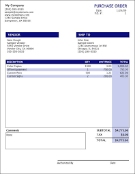 Purchase Order Form Template Excel Oranged Software