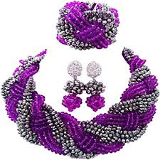 beads necklace sets images Laanc purple and sliver nigerian wedding african beads jpg