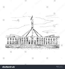 parliament house canberra act australia vector stock vector