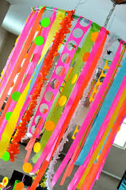 Neon Themed Decorations Hula Hoop Add Streamers And Crepe Get The Kids Involved With