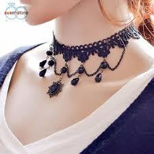 girl collar necklace images Susenstone fashion girl handmade gothic retro vintage lace collar jpg